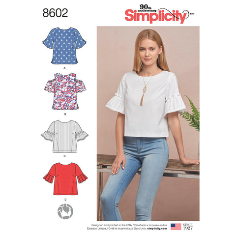 Simplicity Pattern S8602 Misses' Tops in 2 Lengths