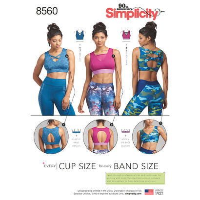 Simplicity Pattern S8560 Misses' Knit Sports Bras