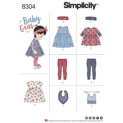 Simplicity Pattern S8304 Babies' Leggings, Top, Dress, Bibs & Headband