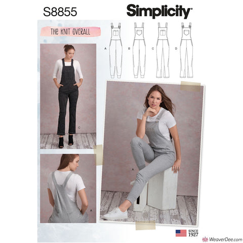 Simplicity Pattern S8855 Misses' Knit Dungarees