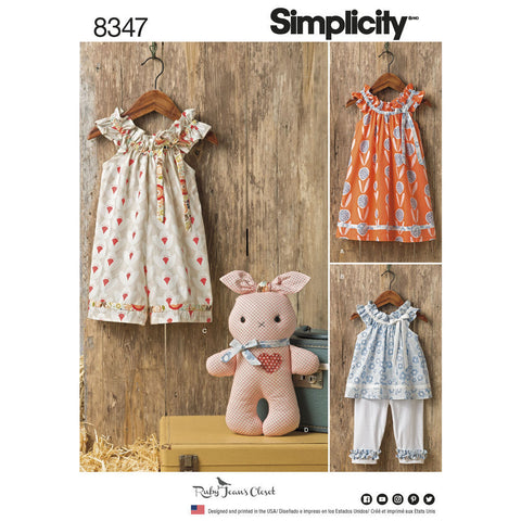 Simplicity Pattern S8347 Toddlers' Dress, Top, Knit Capris, & Stuffed Bunny
