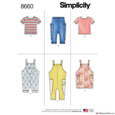 Simplicity Pattern S8660 Toddlers' Knit Top, Pants, Jumper & Overalls