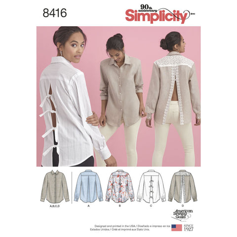 Simplicity Pattern S8416 Misses' Shirt with Back Variations