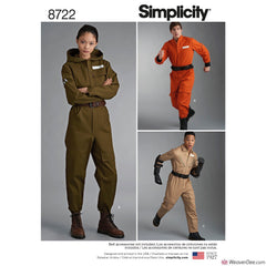 Simplicity Pattern S8722 Flight Suit Costumes - Misses', Men's & Teens'
