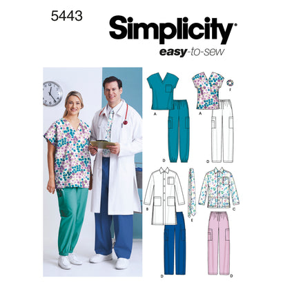 Simplicity Pattern S5443 Women's & Men's Plus Size Scrubs