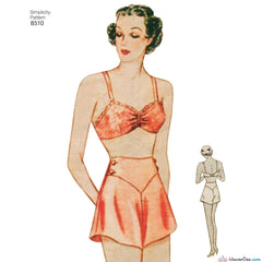 Simplicity Pattern S8510 Misses' Vintage 1930s Brassiere and Panties