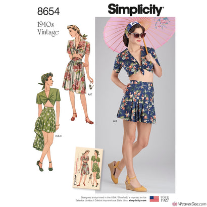 Simplicity Pattern S8654 Misses' Vintage 1940S Skirt, Shorts & Tie Top