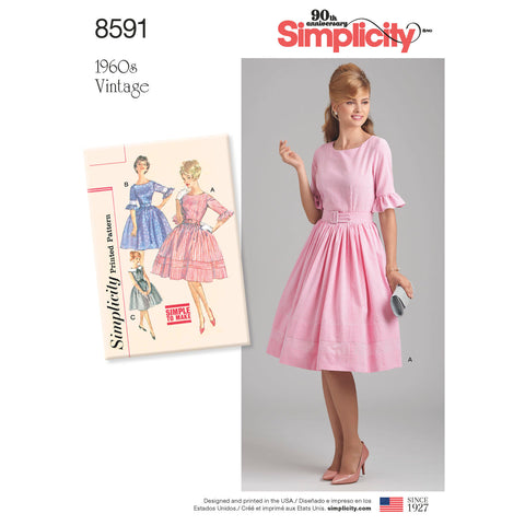 Simplicity Pattern S8591 Misses' & Petites' Vintage 1960s Dress