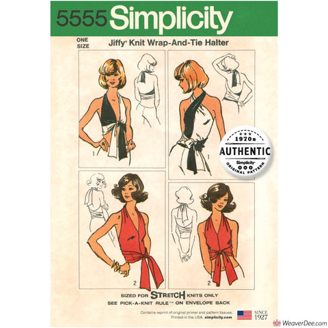 Simplicity Pattern S5555 Misses' Vintage 1970s Jiffy Knit Wrap & Tie Top