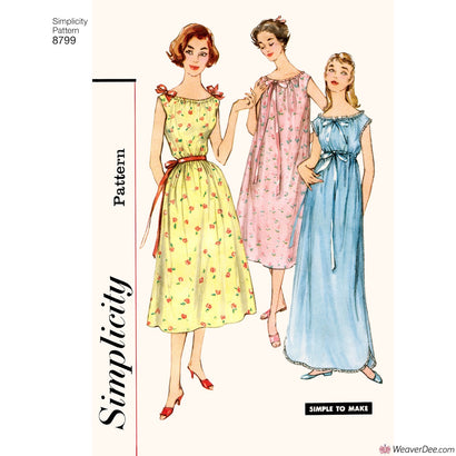 Simplicity Pattern S8799 Misses' Vintage 1950s Nightgowns