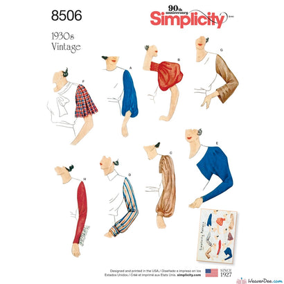 Simplicity Pattern S8506 Misses' Vintage 1930s Set of Sleeves