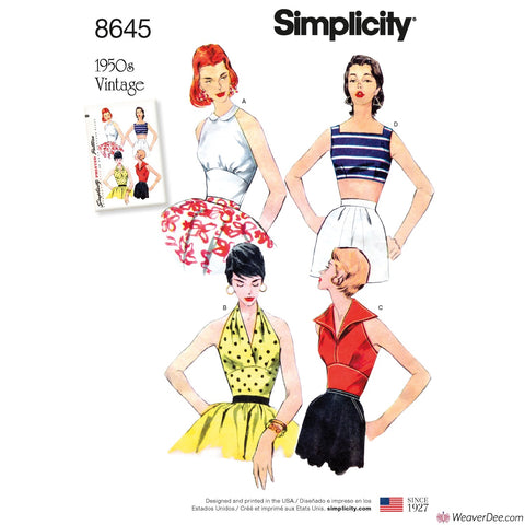 Simplicity Pattern S8645 Misses' Vintage 1950s Tops