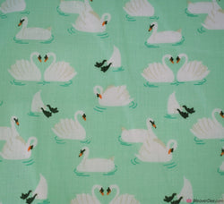 Premier Print Poly Cotton Fabric - Swans Mint