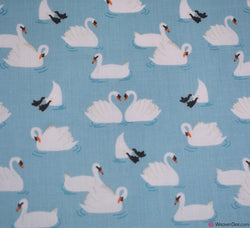 Premier Print Poly Cotton Fabric - Swans Sky Blue