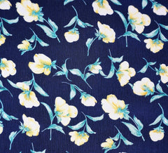 Sweet Blossoms Crinkle Georgette Navy / Yellow Fabric