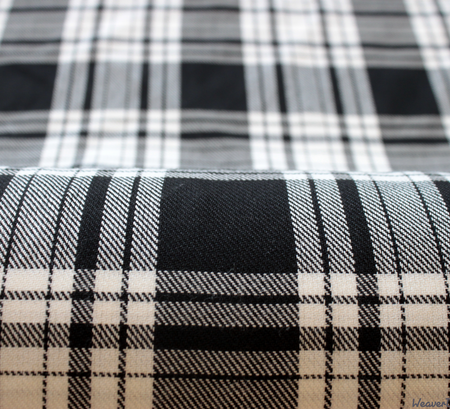 WeaverDee - Polyviscose Tartan Fabric / Menzies (Black & White) - WeaverDee.com Sewing & Crafts - 1