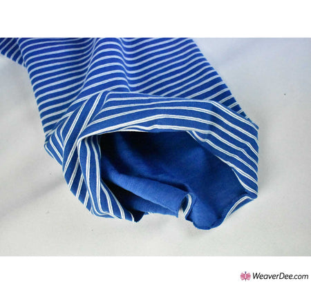 Tubular Ribbing Cotton Fabric - Stripes Royal Blue / White
