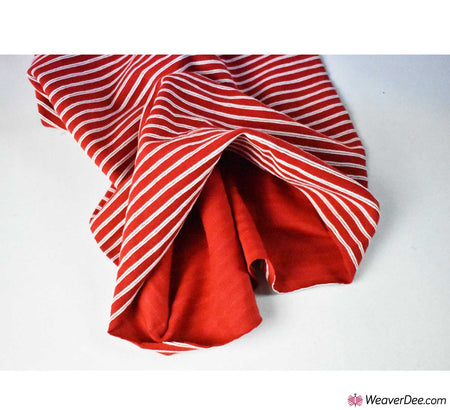 Tubular Ribbing Cotton Fabric - Stripes Red / White