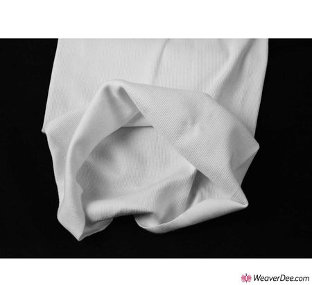 Tubular Ribbing Cotton Fabric - White