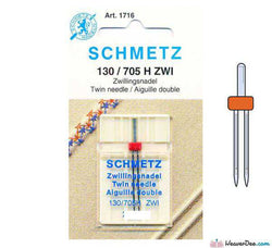 SCHMETZ  2.5mm Twin Machine Needle - Size 80