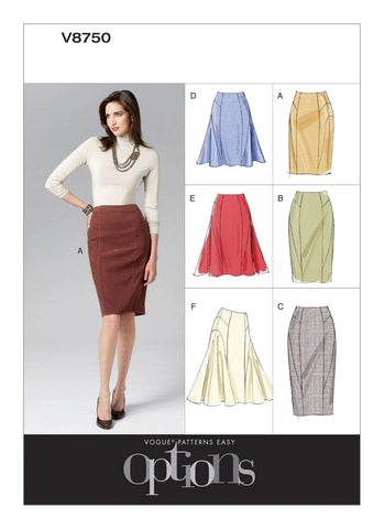 Vogue Pattern V8750 Misses' Side-Flare or Pencil Skirts