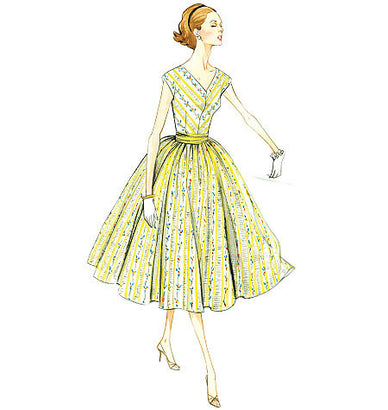 Vogue - V8789 Misses'/Misses' Petite Dress and Cummerbund | Easy | Vintage 1950s - WeaverDee.com Sewing & Crafts - 1