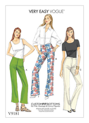 Vogue - V9181 EASY Misses' Custom Fit Bootcut Pants - WeaverDee.com Sewing & Crafts - 1