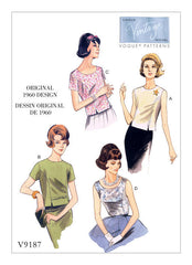 Vogue - V9187 Vintage 1960s Misses' Jewel or Scoop Neck Princess Seam Tops - WeaverDee.com Sewing & Crafts - 1