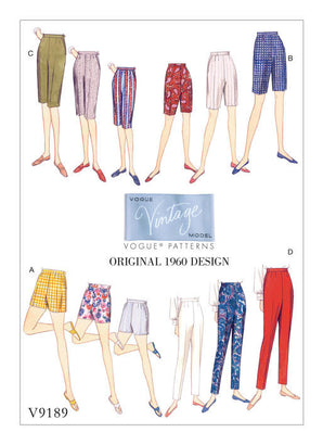 Vogue - V9189 Vintage 1960s  Misses' Shorts & Tapered Pants - WeaverDee.com Sewing & Crafts - 1