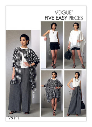 Vogue - V9191 Misses' Ponchos, Top, Shorts & Wide Leg Wrap Pants - WeaverDee.com Sewing & Crafts - 1