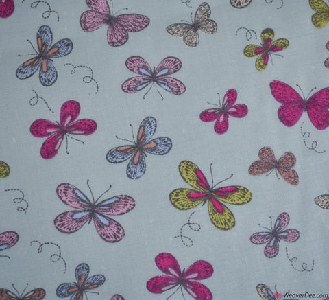 EASY LIVING Cotton Fabric - Woodland Butterfly Duck-Egg (EXTRA WIDE)