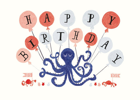 Eight Balloons Birthday Greeting Card