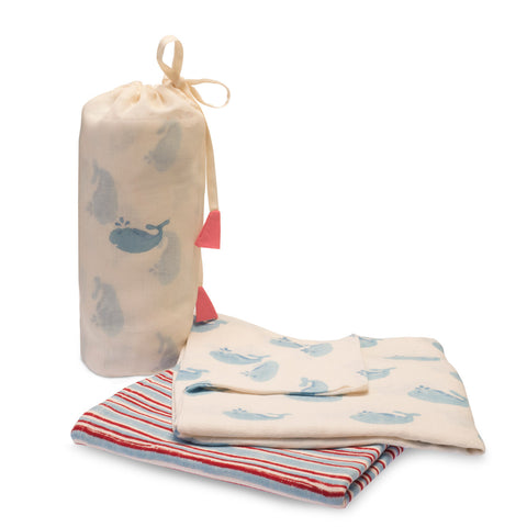 Cotton Whale Swaddle Set