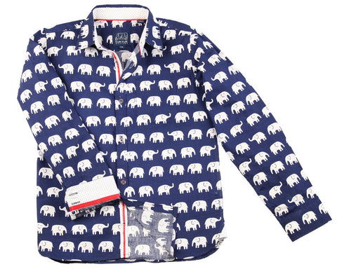 Erawan Elephant in Blue Longsleeve Button Down
