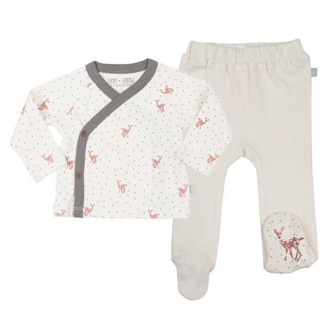 Fawn Kimono and Footed Pant Set