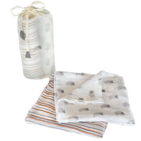 Cotton Hippo Swaddle Set