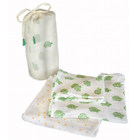 Cotton Turtle Swaddle Set