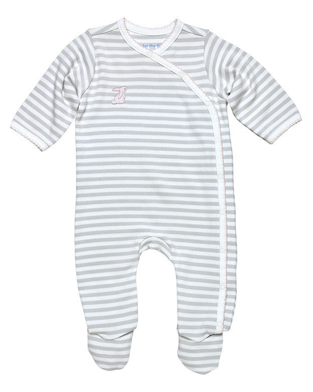Grey Stripe Side Snap Footie with Pink Trim