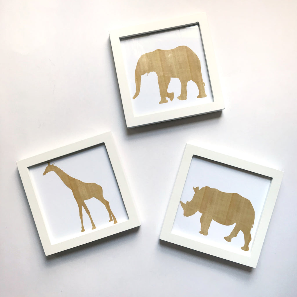 Framed Woodgrain Animal Prints