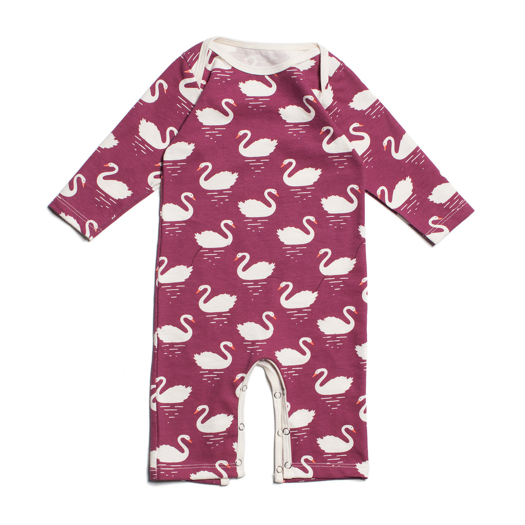 Bordeaux Swans Long-Sleeve Romper