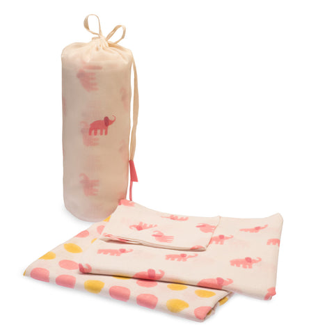 Cotton Elephant Swaddle Set