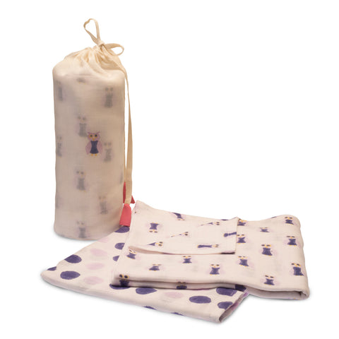 Cotton Owl Swaddle Set