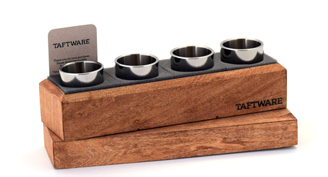 Taftware Stainless Steel Polished Shot Glass Set in Handmade Wood Box