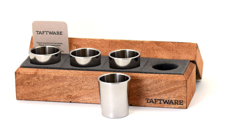 Taftware Stainless Steel Polished Shot Glass Set of 4 in Handmade Wood Box