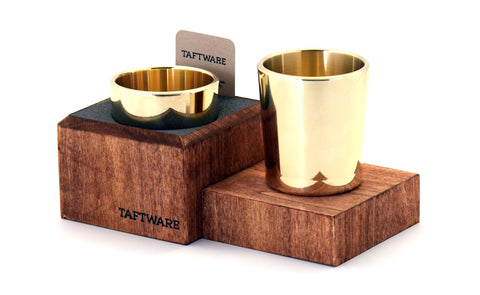 Taftware Single Hand Polished Brass Tumbler in Handmade Wood Box