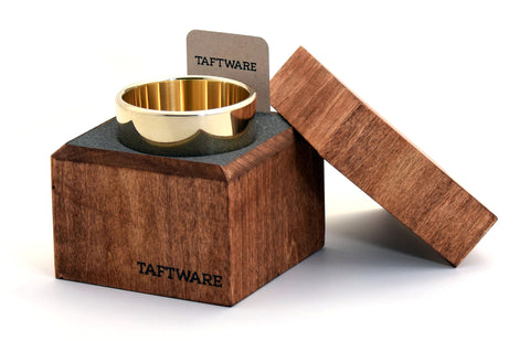 Taftware Brass Single Metal Tumbler in Handmade Wood Box