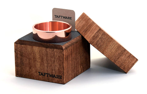 Taftware Copper Metal Tumbler in Handmade Wood Box