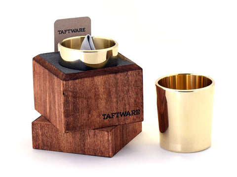 Taftware Brass Metal Tumbler in Handmade Wood Box