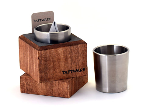Taftware Brushed Titanium Tumbler in Handmade Wood Box