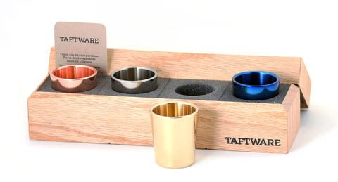 Taftware Gentlemens Shot Glass Set - Brass